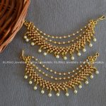 Pretty CZ Pearl Earchains From Kruthika Jewellery