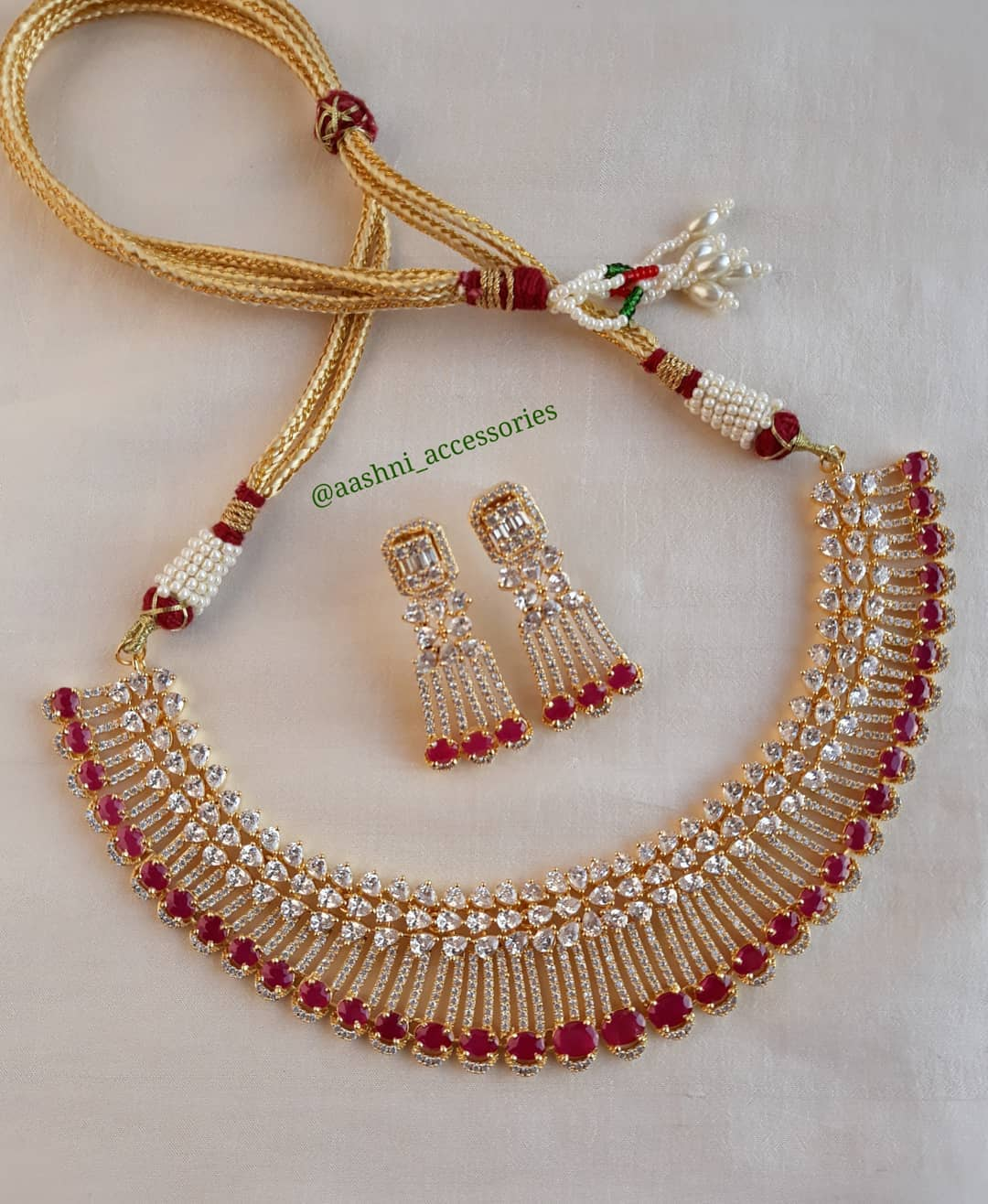 Red Stone Necklace From Aashni Accessories