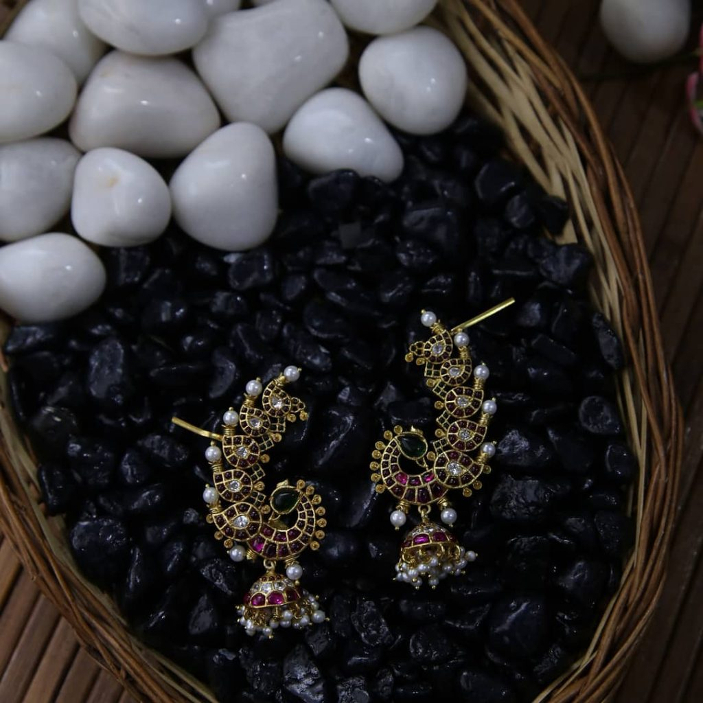 Traditional Peacock Earcuff jhumkha From Rimli Boutique
