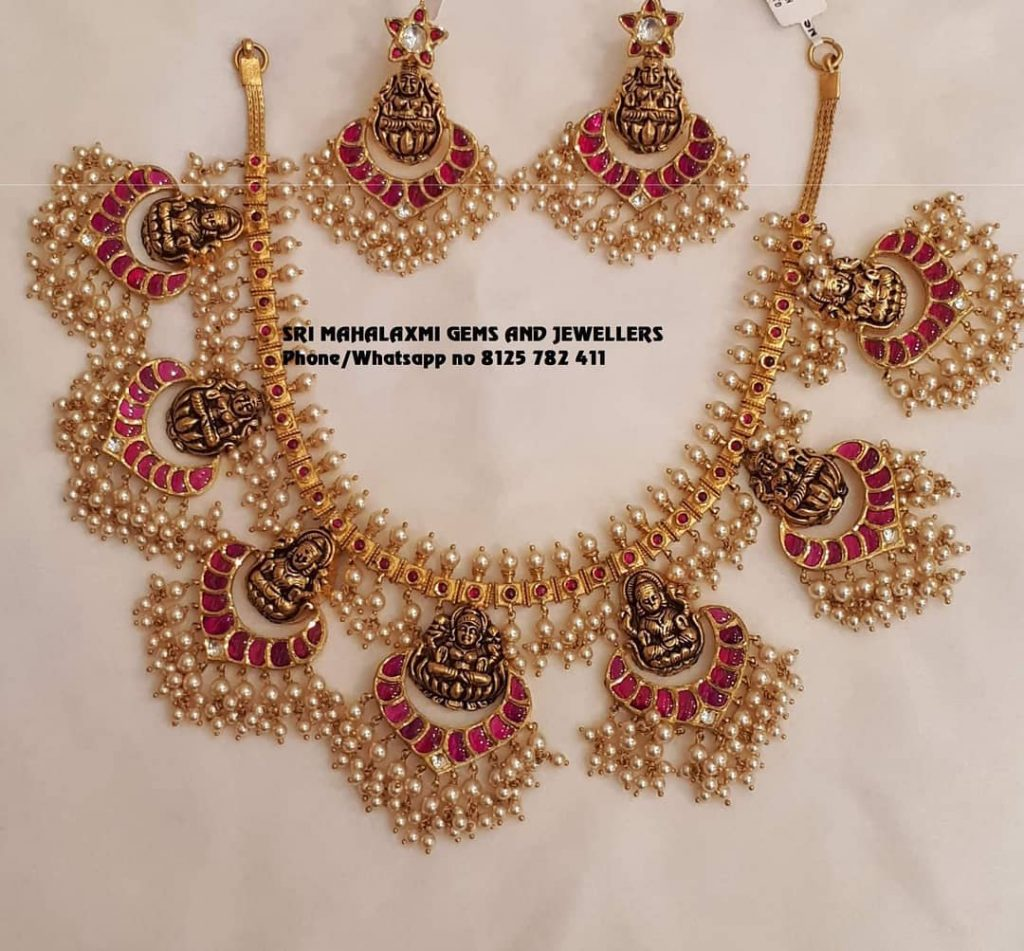 Attractive Gold Necklace From Sri Mahalakshmi Gems And Jewels