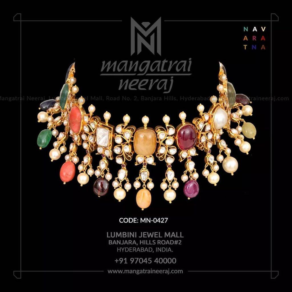 Attractive Navarathna Gold Choker From Mangatrai Neeraj