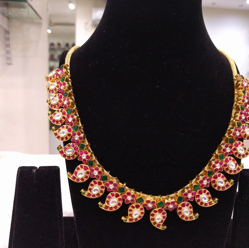 Attractive Silver Gold Plated Necklace From Samskruthi Jewellers
