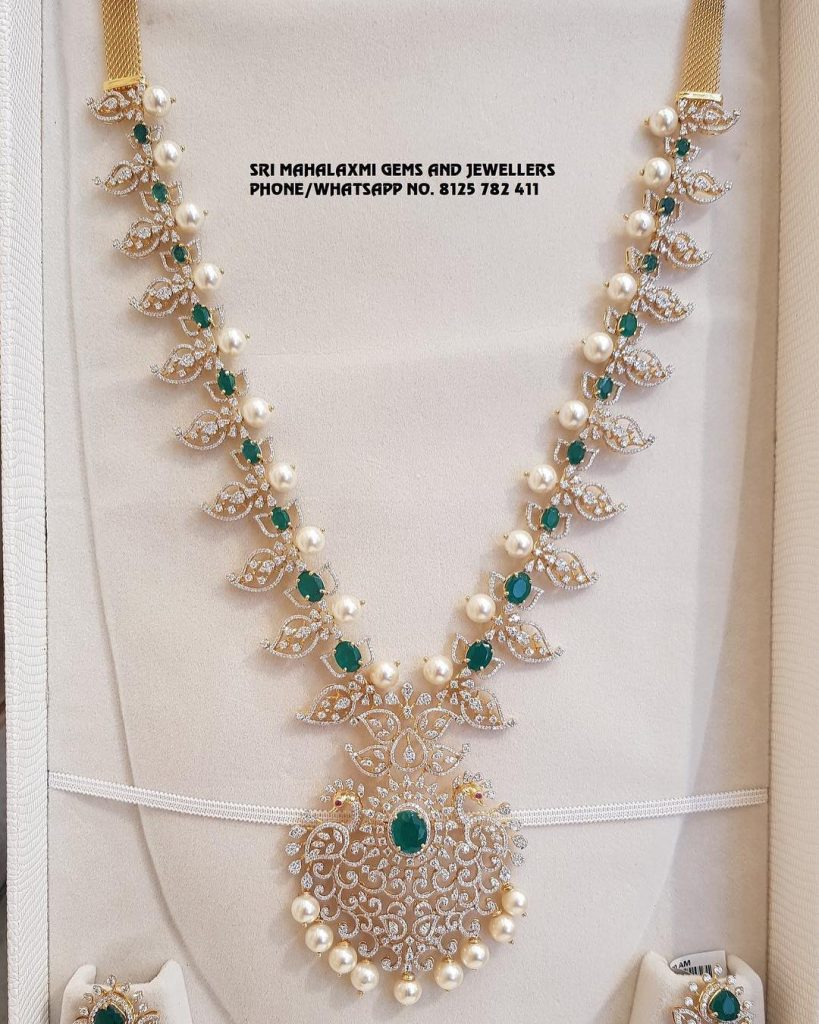 Beautiful Diamond Long Necklace From Sree Mahalakshmi Gems And Jewellers