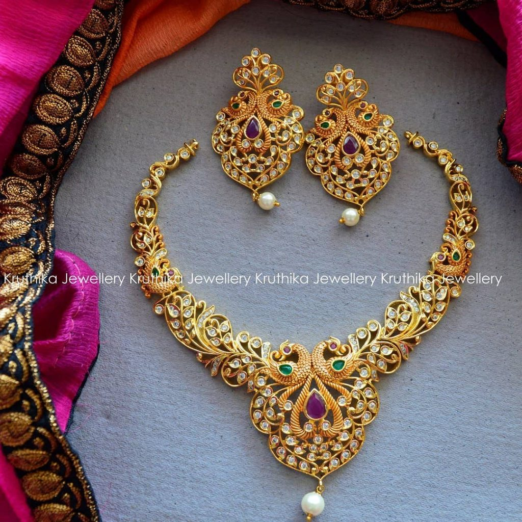 CZ Cutwork Necklace Set From Kruthika Jewellery