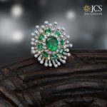 Grand Emerald and diamond Studded Ring From JCS Jewel Creations