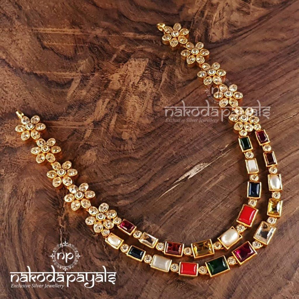 Lovely Navarathna Silver Necklace From Nakoda Payals
