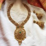 Matt Ruby Emerald Three Line Neckpiece From Emblish Coimbatore