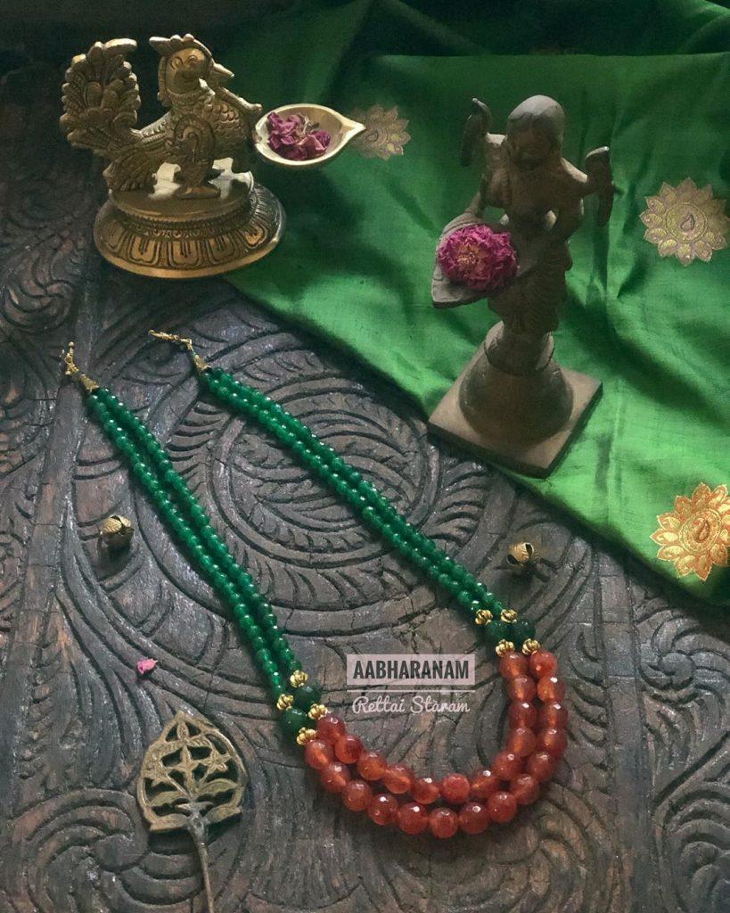 Precious Beaded Necklace From Abharanam