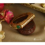 Antique Gold Cuff Openable Bangle From Meermankaa