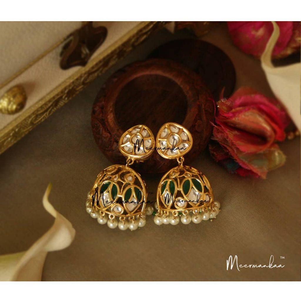 Cute Emerald Jhumka From Meermankaa