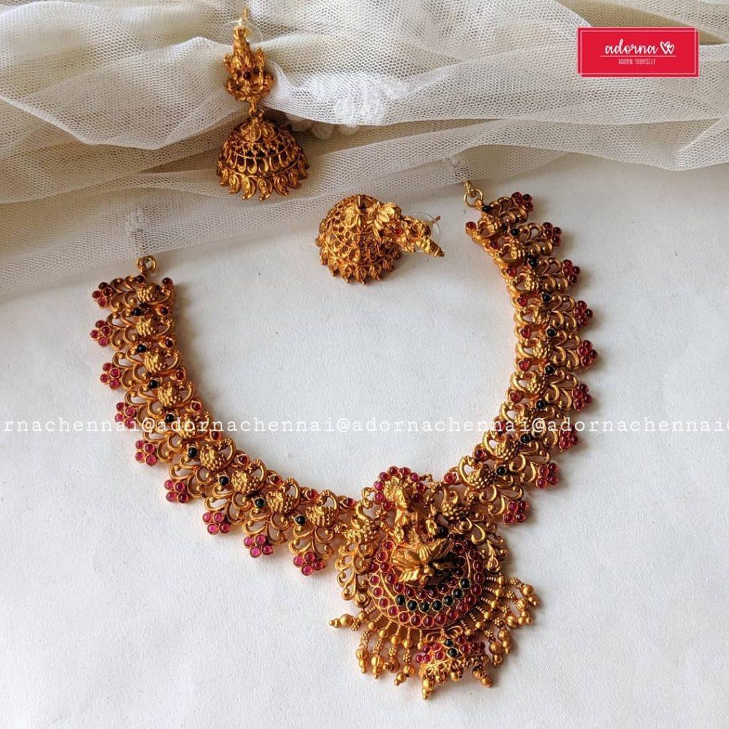 Decorative Temple Necklace Set From Adorna Chennai