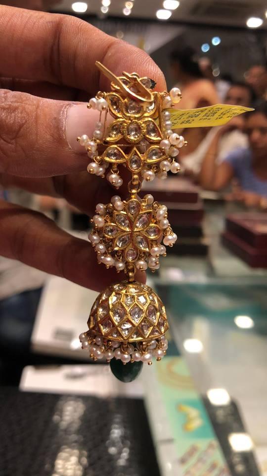 Ethnic Gold Earring From Premraj Shantilal Jain Jewellers