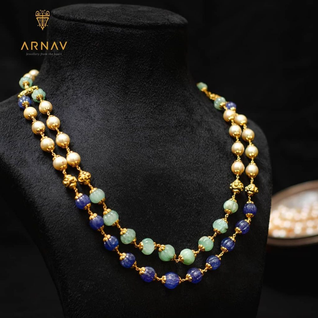 Fashionable Gold Layered Necklace From Arnav Jewellery