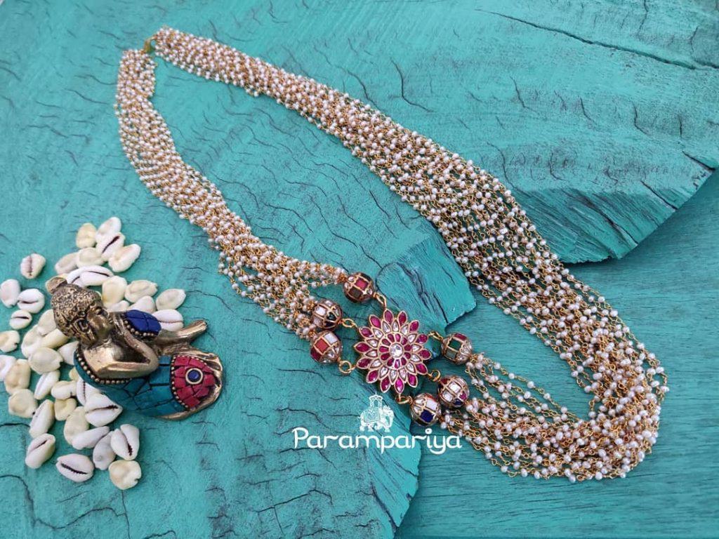 Kundan Beads Pearl Mala From Parampariya