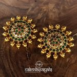 Pure Silver With Gold Polish Big Studs From Nakoda Payals
