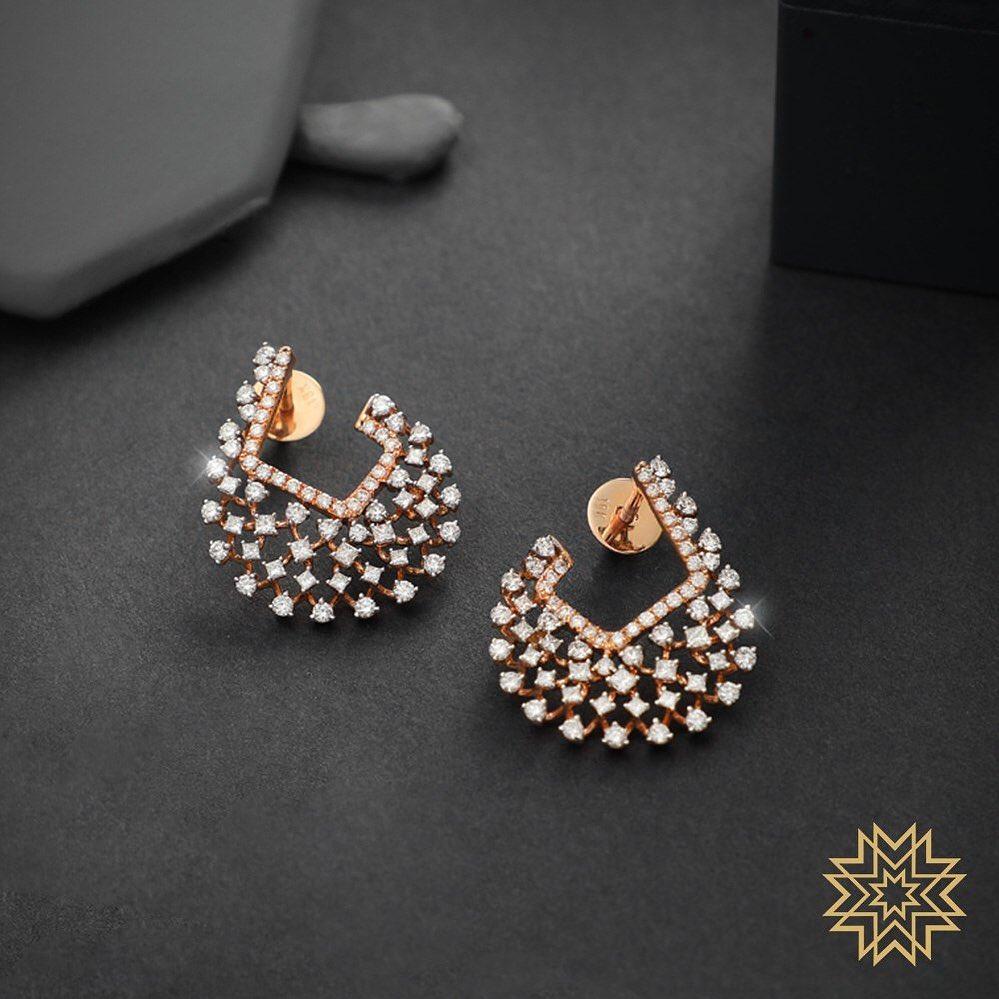 Stunning Diamond Earrings From Manubhai Jewels