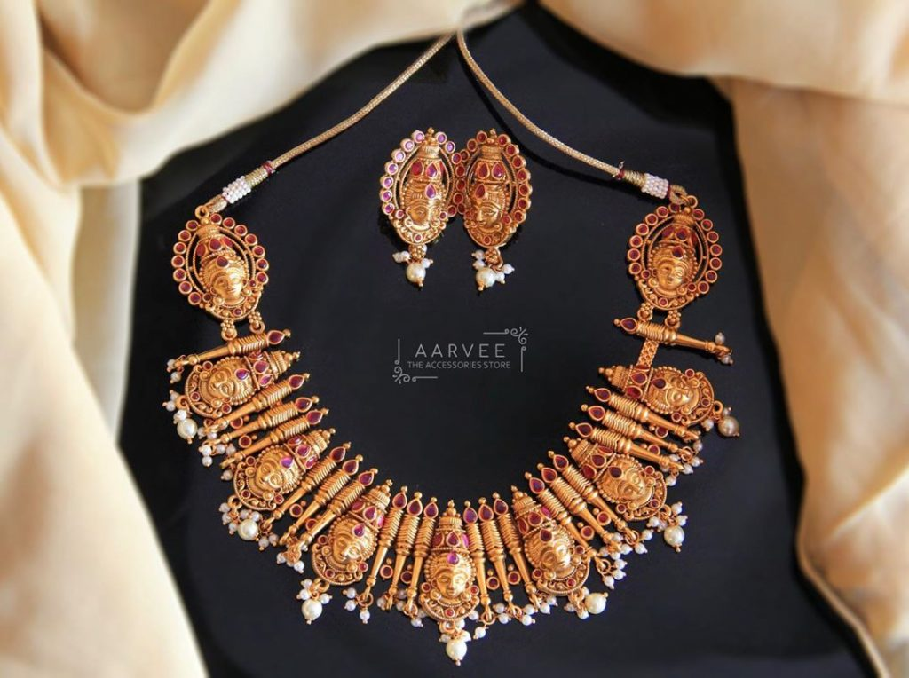 Unique Temple Necklace Set From Aarvee