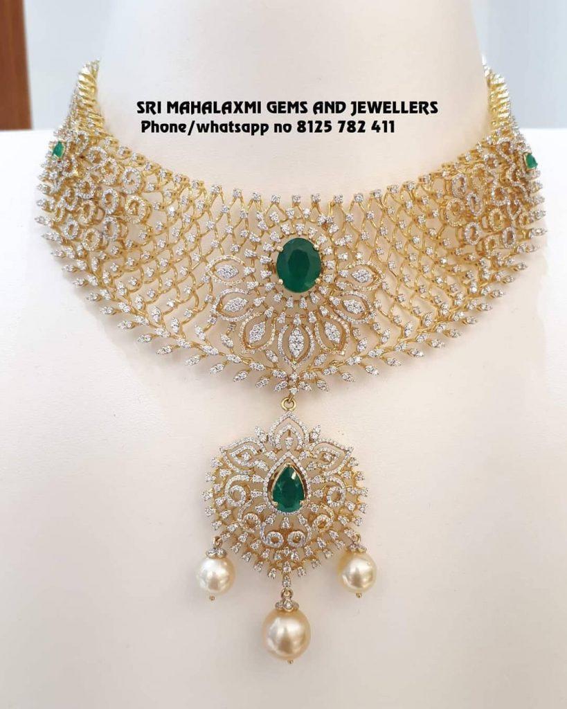 Alluring Diamond Choker From Sri Mahalakshmi Gems And Jewellers