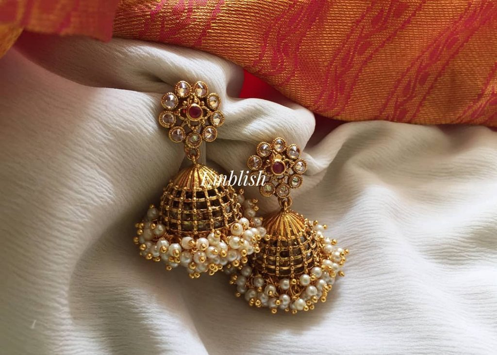 Antique Finish Pearl Bunch Jhumkas From Emblish