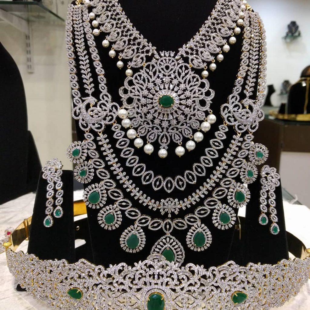Attractive Diamond Finish Bridal Set From Samskruthi Jewellers