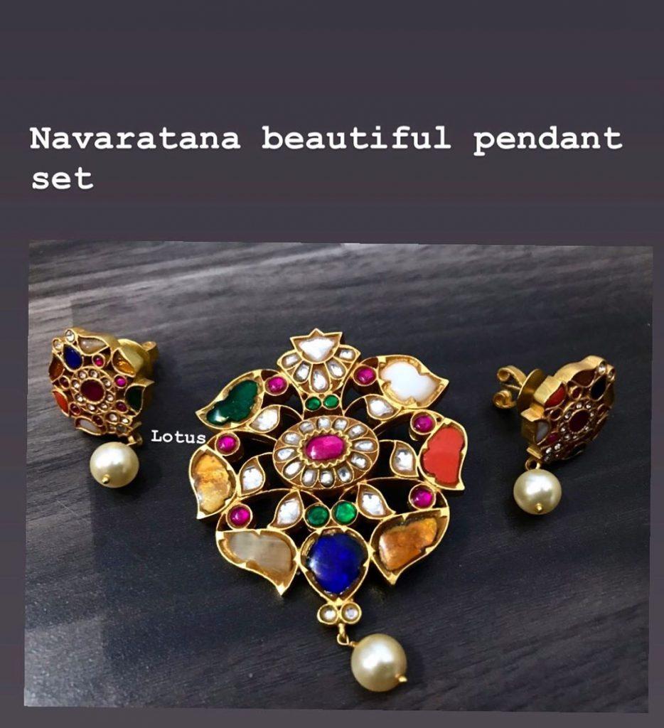 Beautiful Navarathna Pendant Set From Lotus Silver Jewellery