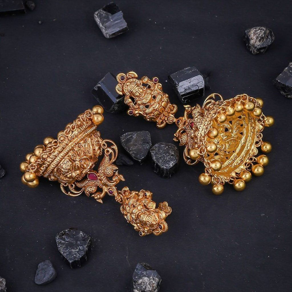 Beautiful Temple Jhumkas From 925 Silver