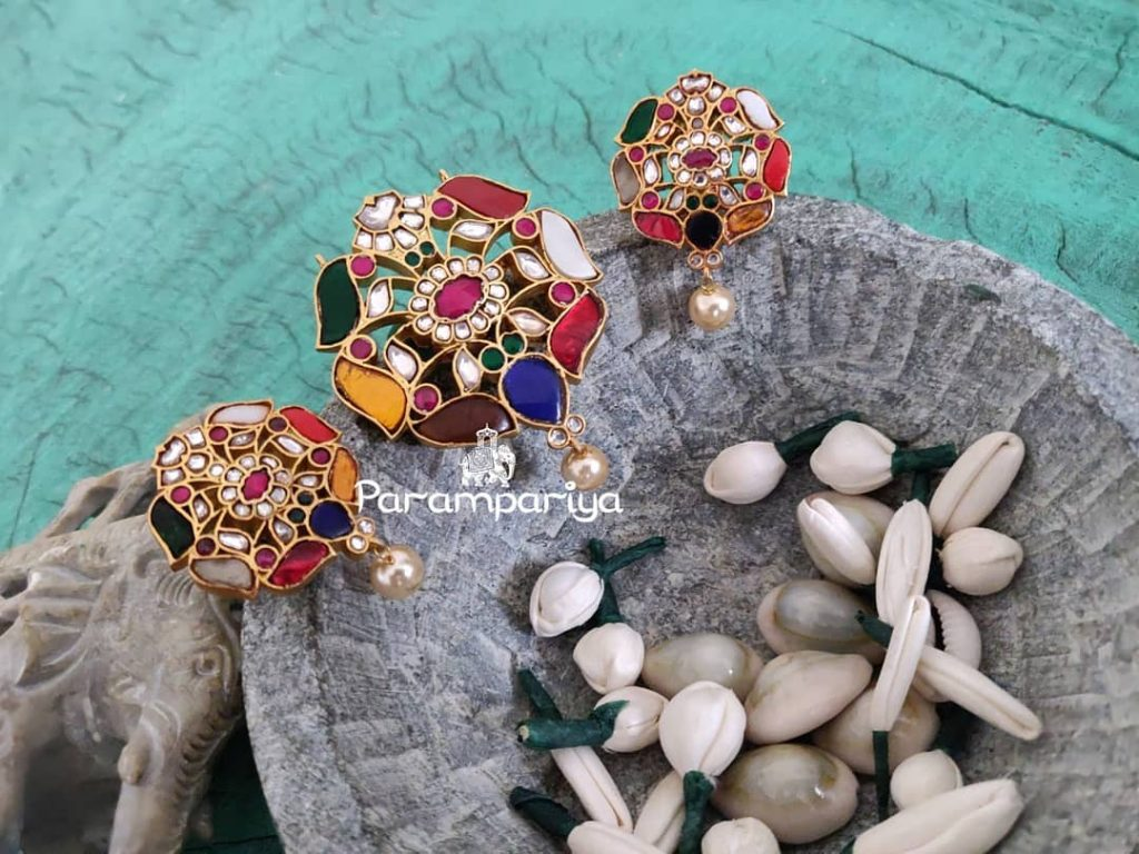 Colourful Pendant And Earrings Set From Parampariya