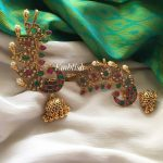 Designer Multi Color Peacock Earcuff Jhumkas From Emblish