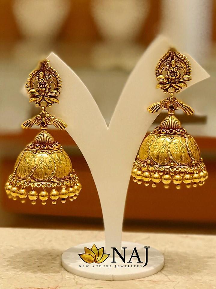 Eye Catching Gold Jhumkas From NAJ Jewellery