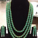 Grand 3 layered Emerald Necklace From Samskruthi Jewellers