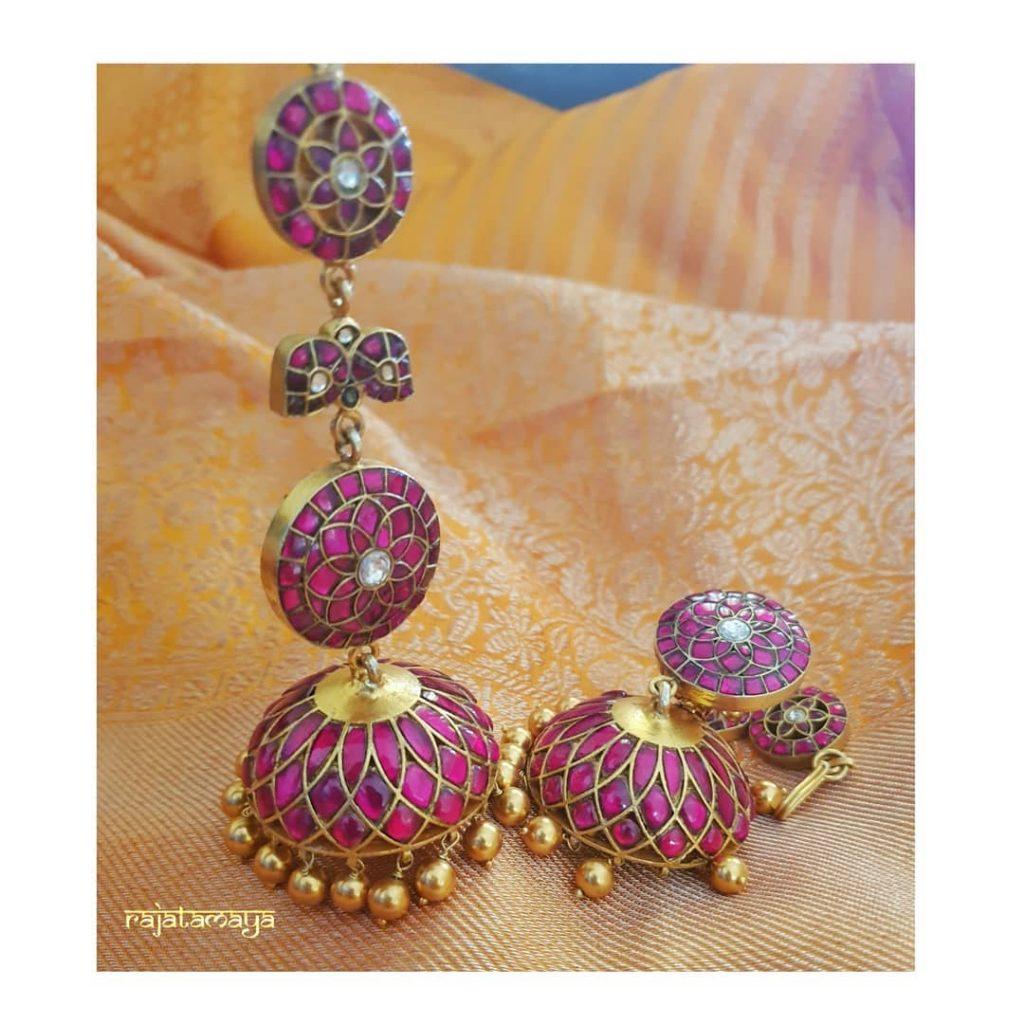 Handmade Cute Kundan Earrings From Rajatamaya