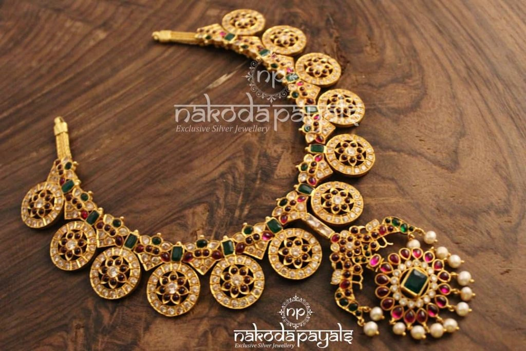 Pure Silver Gold Plated Necklace From Nakoda Payals