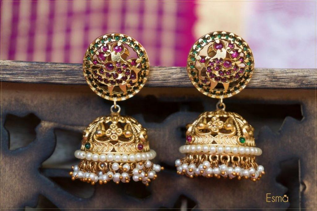 Simple Antique Jhumkas From Esma Jewellery