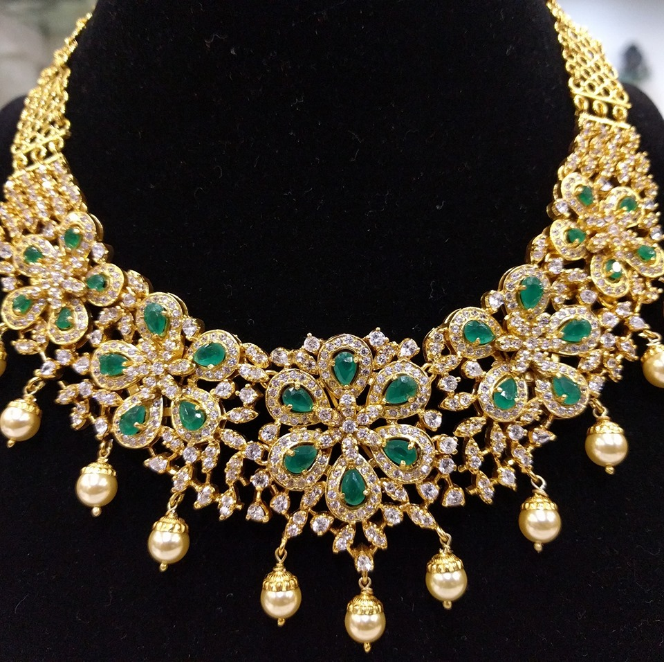 Stunning Gold Plated Silver Necklace From Samskruthi Jewellers