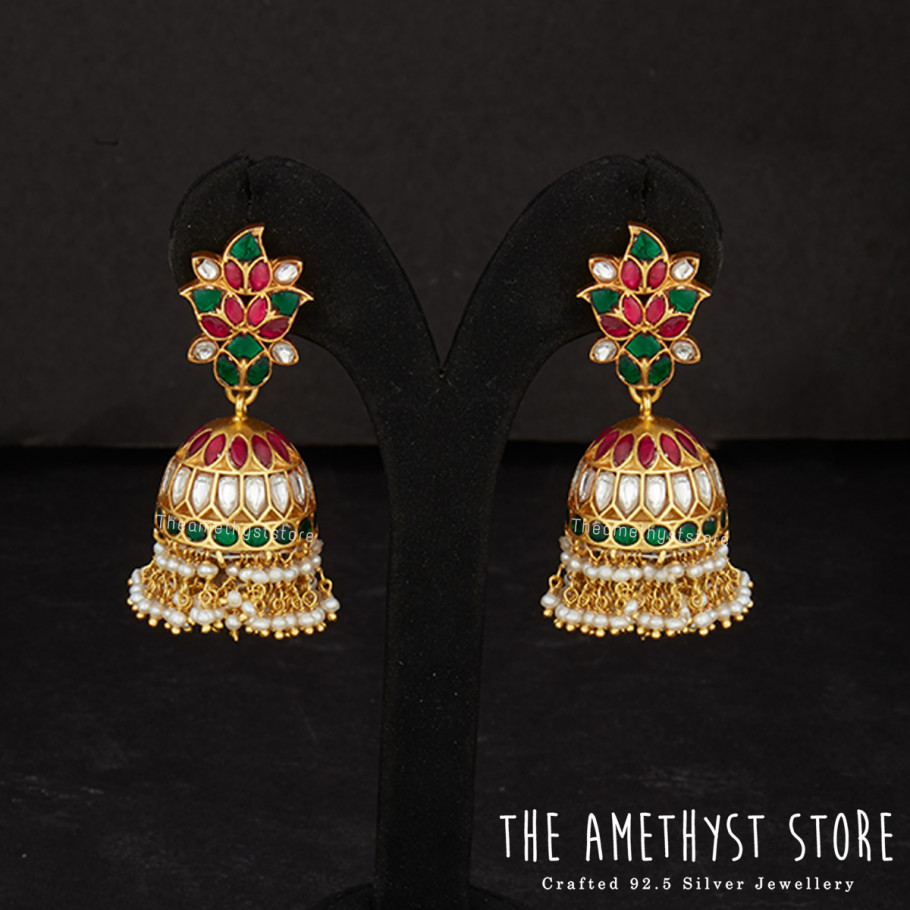 Traditional Silver Jhumkas From The Amethyst Store
