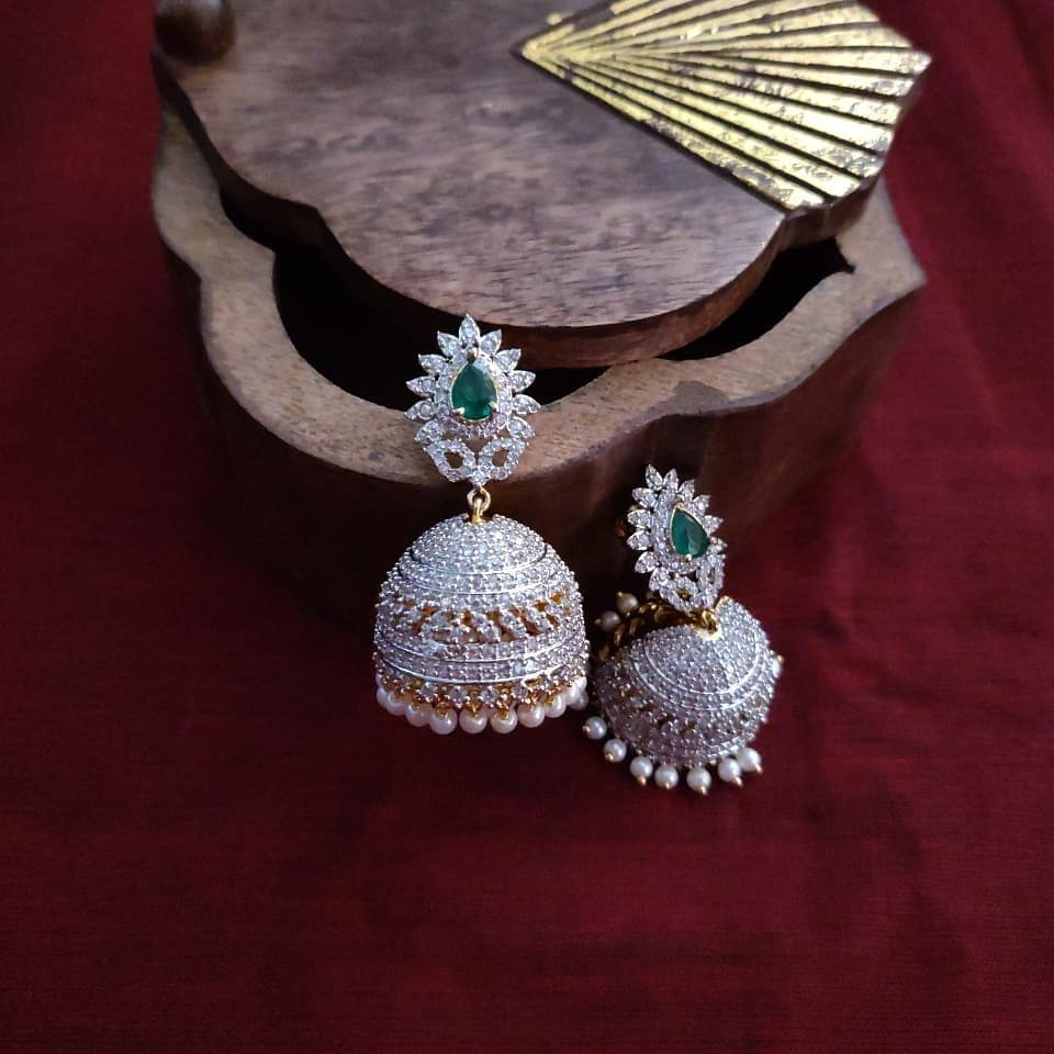 Attractive AD Flower Stud Jhumkas From Madhura Boutique
