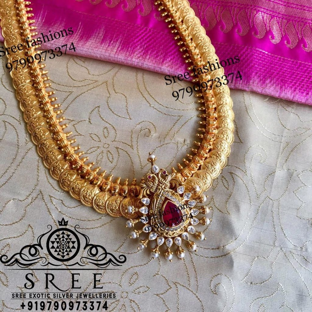 Attractive Long Silver Temple Haram From Sree Exotic Silver Jewelleries
