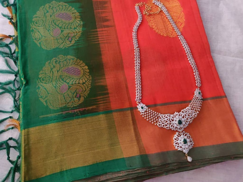 Attractive Silver Necklace From Madhura Boutique