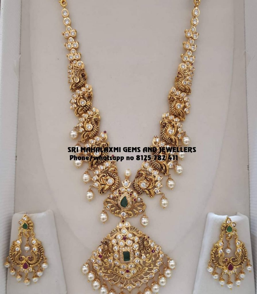 Beautiful Gold Necklace Set From Sri Mahalakshmi Gems And Jewellers