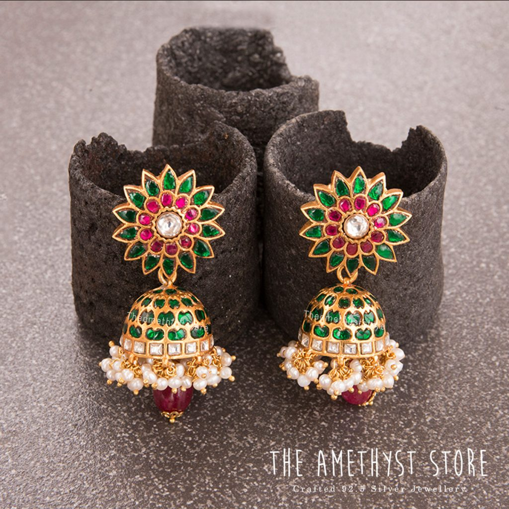 Beautiful Silver Jhumkas From The Amethyst Store