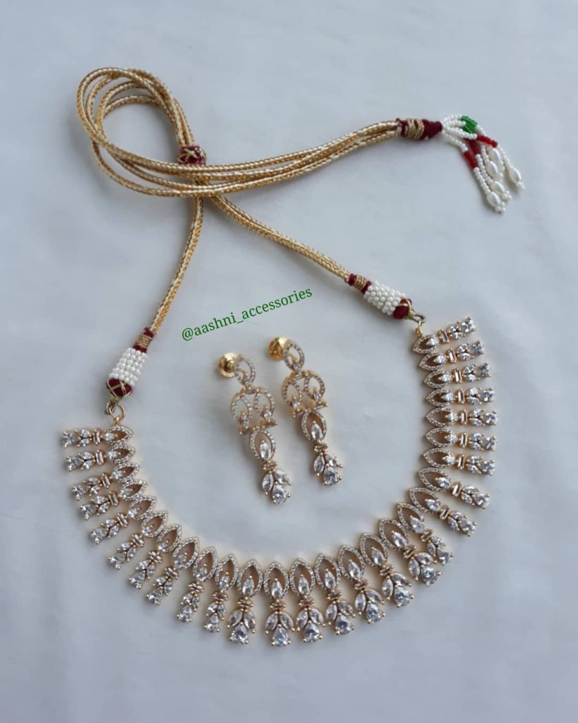 Classic Stone Neckalce And Earrings From Aashni Accessories