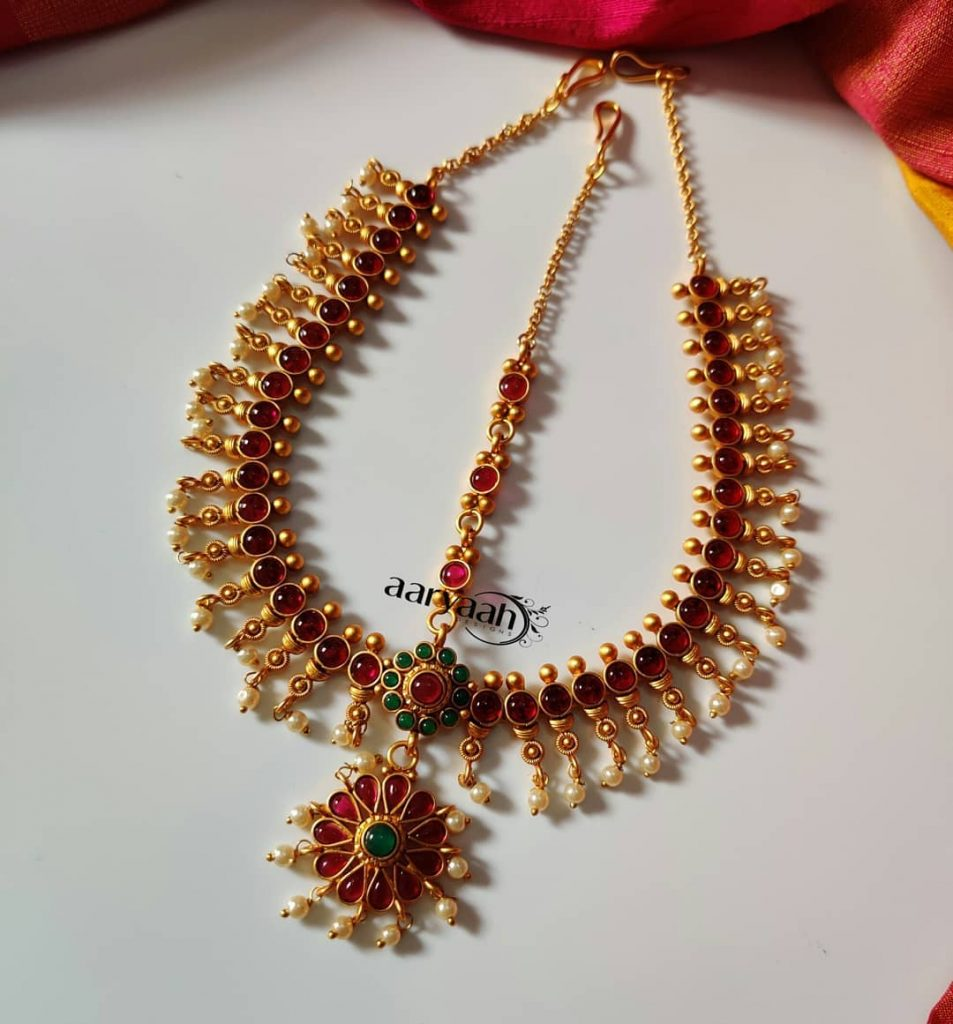 Gorgeous 3 layer Matte gold Tikka Aaryaah Designs