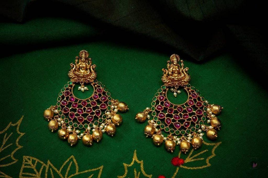 Mahalakshmi Kemp Chandbali Earrings From Happy Pique