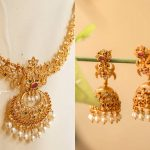 Ruby-Green Cutwork Necklace Set From Anicha