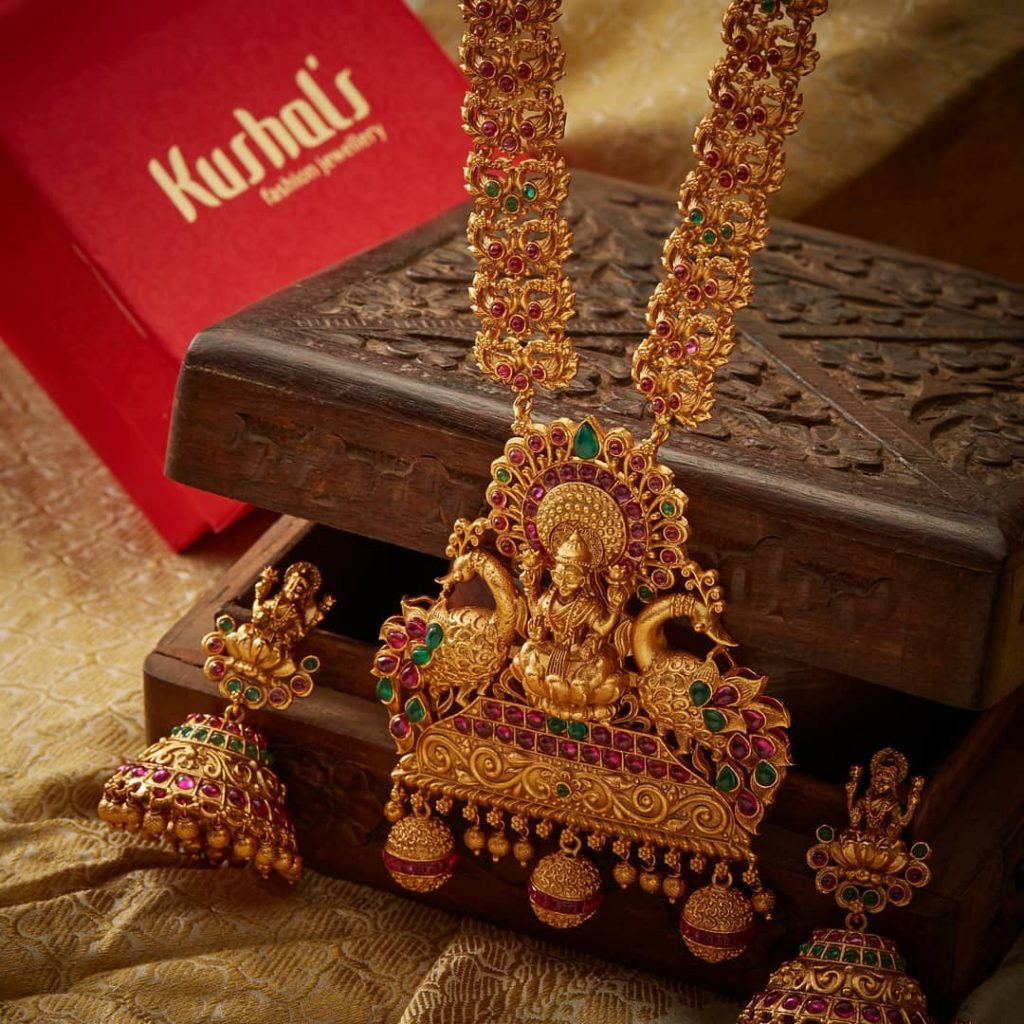 Unique Temple Necklace Set From Kushal's Fashion Jewellery
