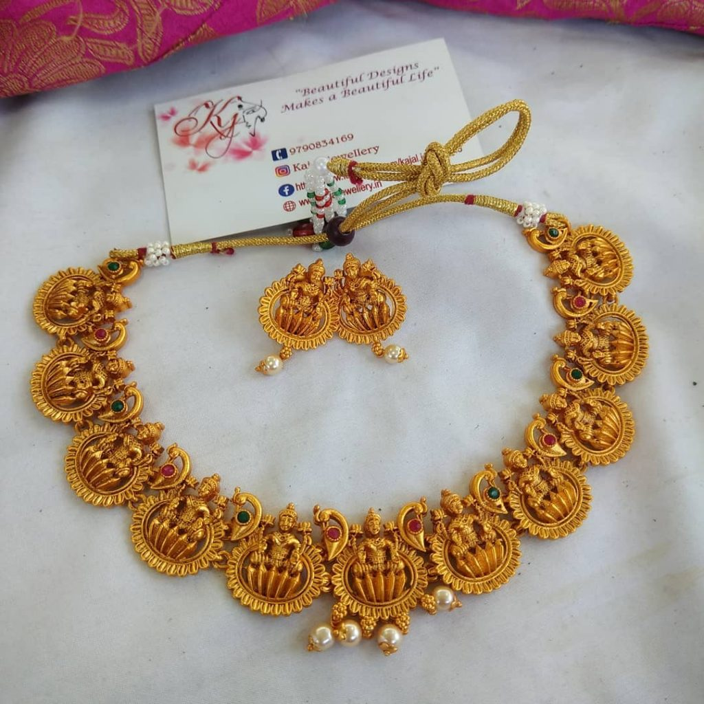 Attractive Temple Necklace Set From Kajal Jewellery