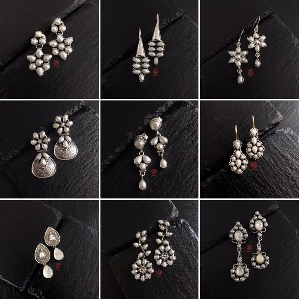 Beautiful Silver Pearl Earrings From Aham Jewellery