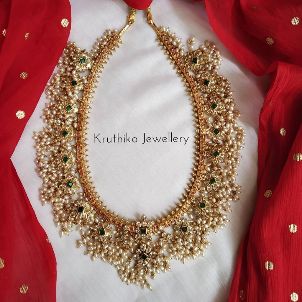 Cute Goldplated Guttapusalu Necklace From Kruthika Jewellers
