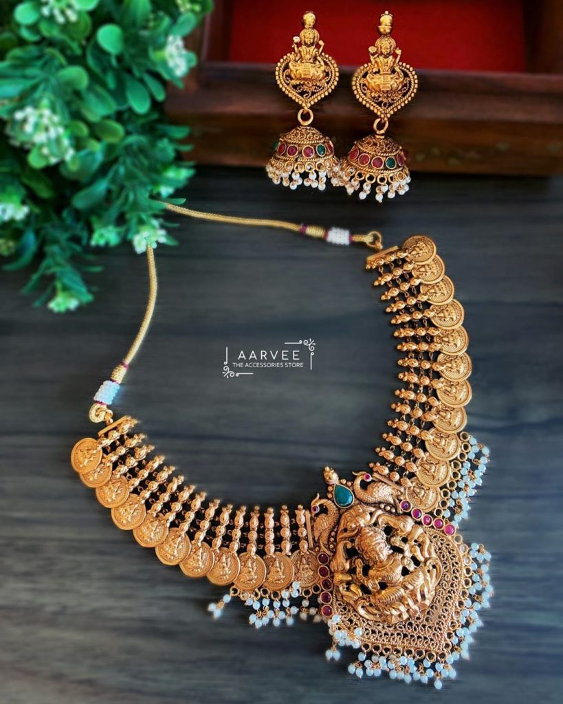 Finely Carved Lakshmi Coin Necklace Set From Aarvee