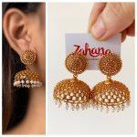 Gold Dots Wide Jhumkas From Zahana